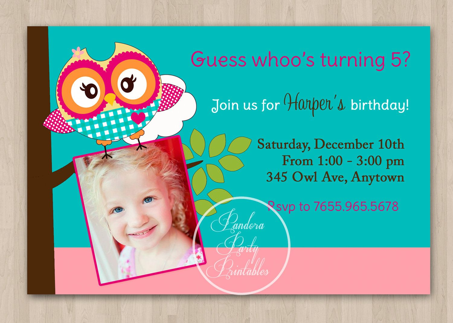 Pink and Green Cute Owl Birthday Invitation by pandoraprintables ...