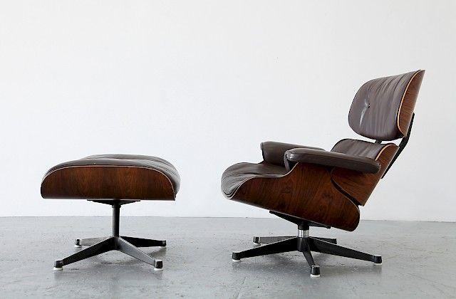 Echtleder Braun Und Palisander Lounge Chair Sessel Mit Ottomane Von Ray Und Charles  Eames Fuer Mobilier International Frankreich_1