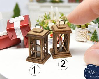 Kerst lantaarn met kaars - Kerstmis miniatuur handgemaakte poppenhuis 1:12 schalen