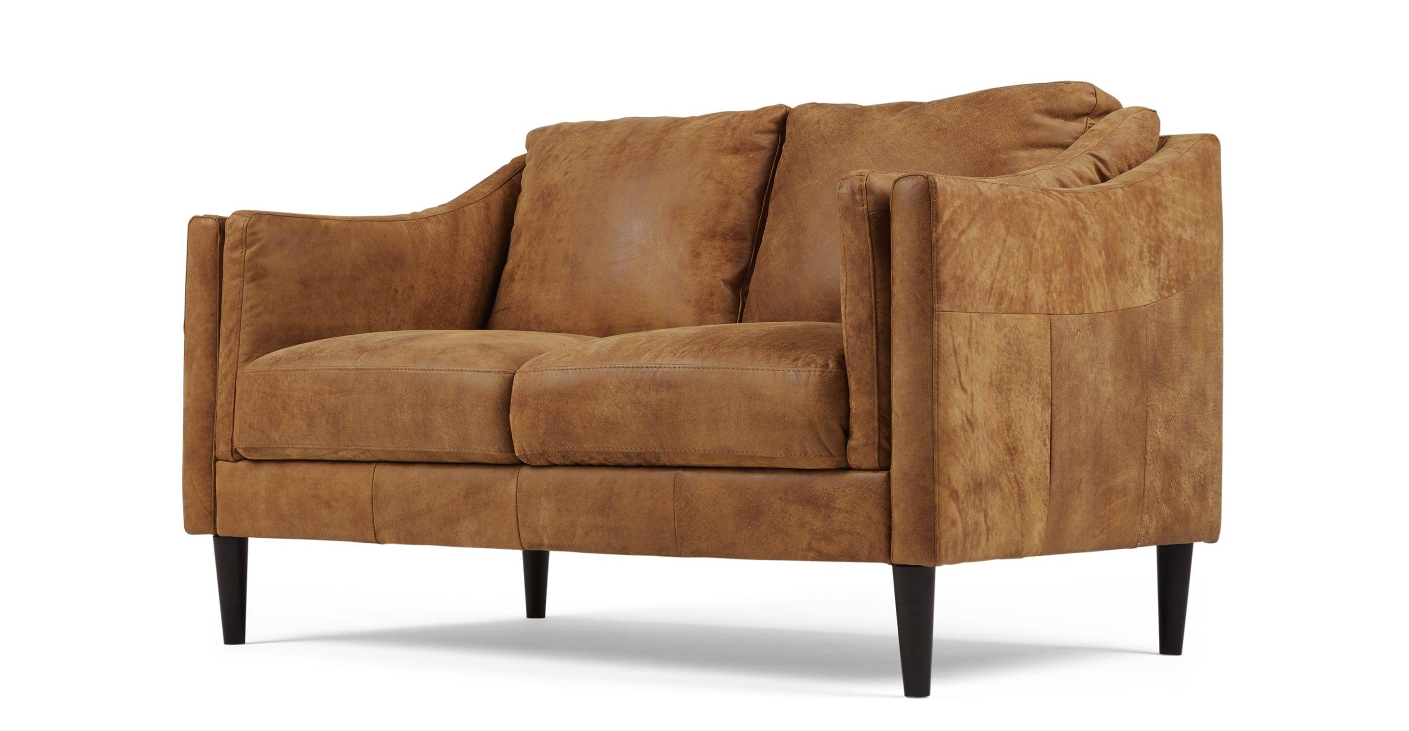 Design 2 Sitzer Sofas Ashwell 2 Sitzer Sofa Leder In Hellbraun Made Com Check Out More Made Com Canape 2 Places Cuir Brun Canape