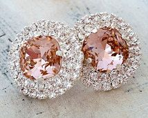 Blush Pink crystal rhinstone stud earrings, Bridal stud earrings, Bridesmaids gift, Estate halo earrings, Swarovski large stud earrings