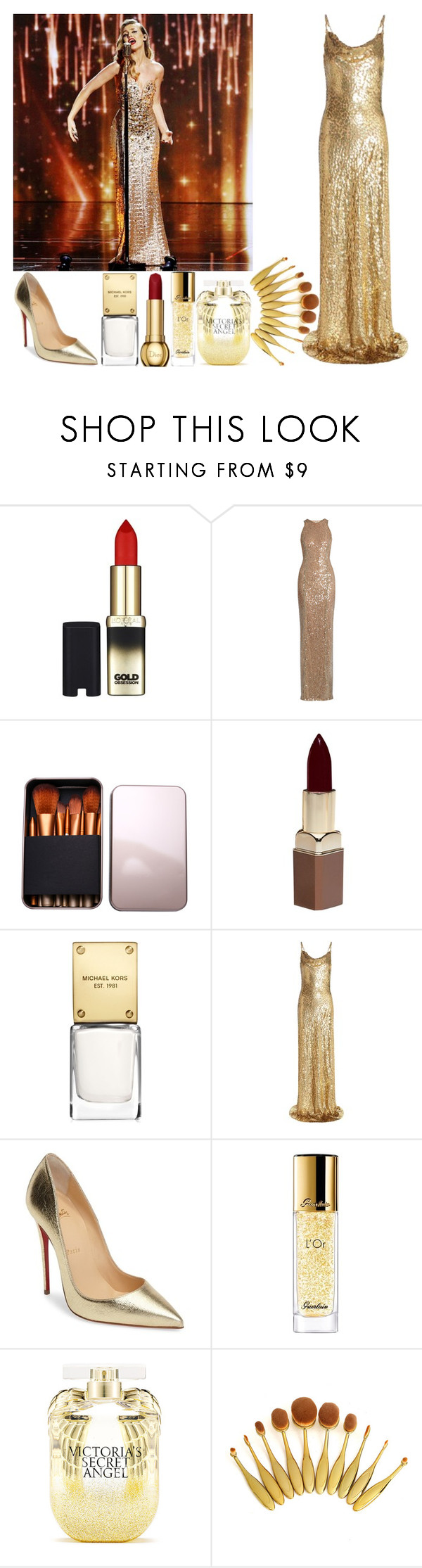 """""""With Perrie"""" by angelbrubisc ❤ liked on Polyvore featuring L'Oréal Paris, Galvan, Fashion Fair, Michael Kors, Christian Louboutin, Guerlain and Victoria's Secret"""