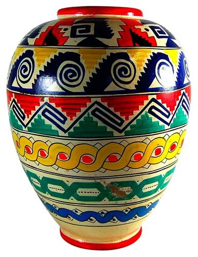 Vintage Aztec Patterned Mexican Pottery Vase 450 Vm