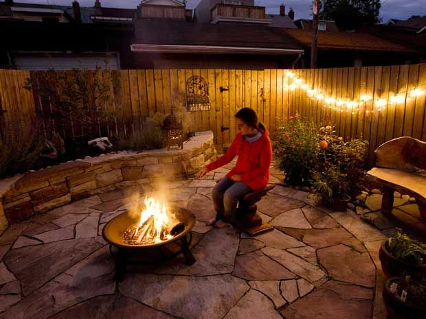 Fire Pit Stone Floor And Fairy Lights Cheap Outdoor Fire Pit