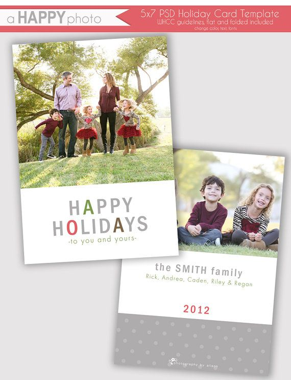 Simple And Clean Holiday Photo Card Template By Ahappyphoto 7 00 Photo Card Template Happy Holiday Cards Holiday Photo Cards Template