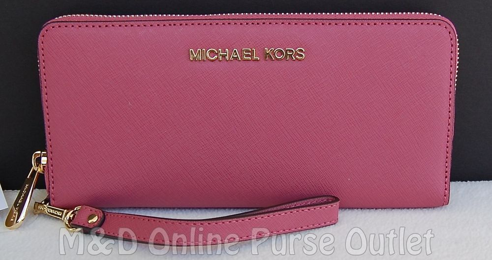 NWT NEW Auth Michael Kors Jet Set Travel Continental Wristlet Wallet ~Tulip #MichaelKors #ClutchWallet