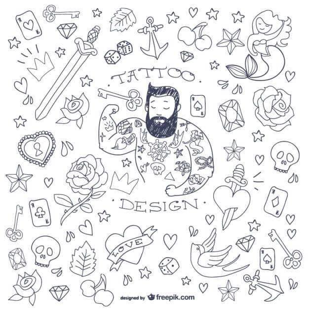 Vintage Tattoo Flash Cartoon Tattoos Doodle Tattoo Tattoos For Guys