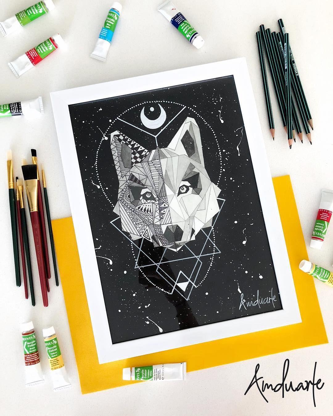 Lobo Dibujo Hecho A Lapiz Acuarela Y Marcadores Tamano 29x39 Cm By Amduarte Wolf Moon Art Lapices De Acuarela Dibujos Hechos A Lapiz Dibujos