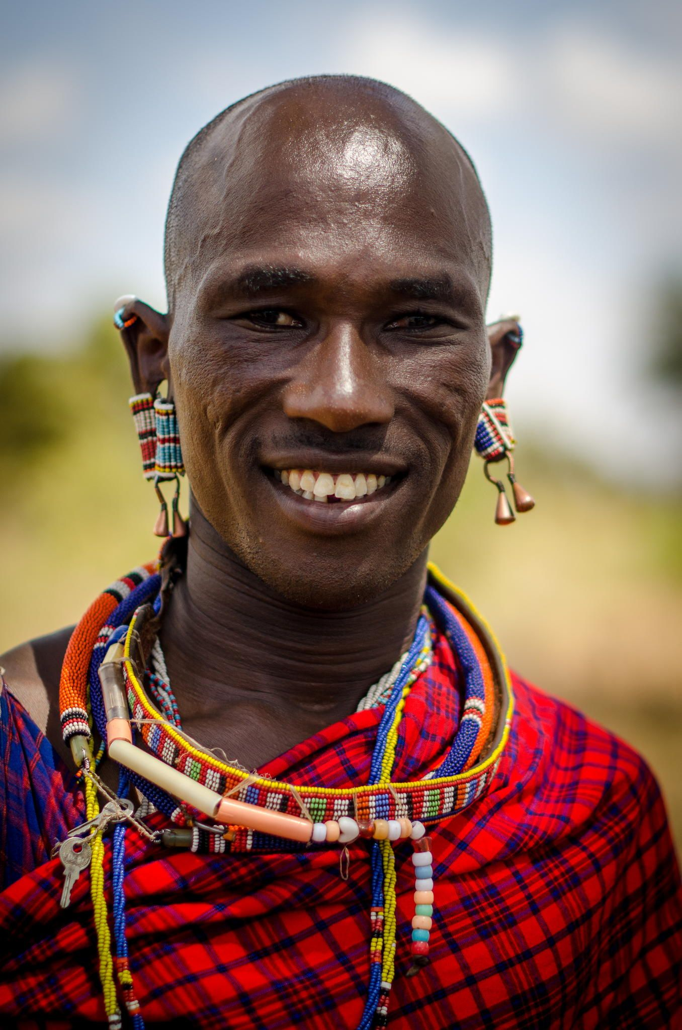 Portrait of Maasai man taken in Masai village near Amboseli ...