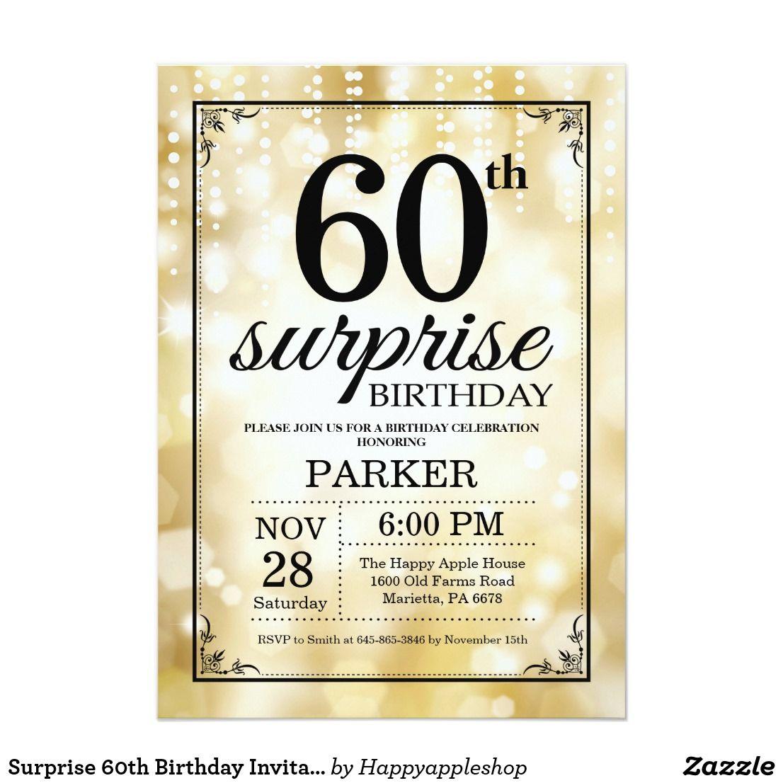 Surprise 60th Birthday Invitation Gold Glitter | Birthday Invitation ...