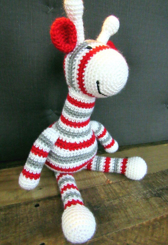 Ohio State Crochet Giraffe, Ohio State Buckeyes, OSU Stripey Scarlet ...