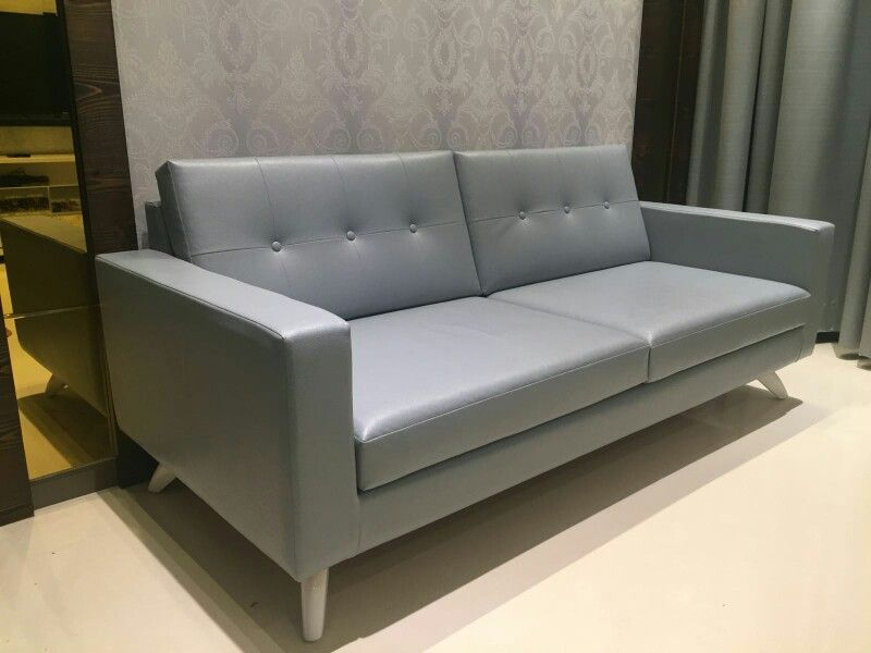 Customised Straight Line Sofa With Wooden Base And White Polycott Cladded Turkish Leatherite