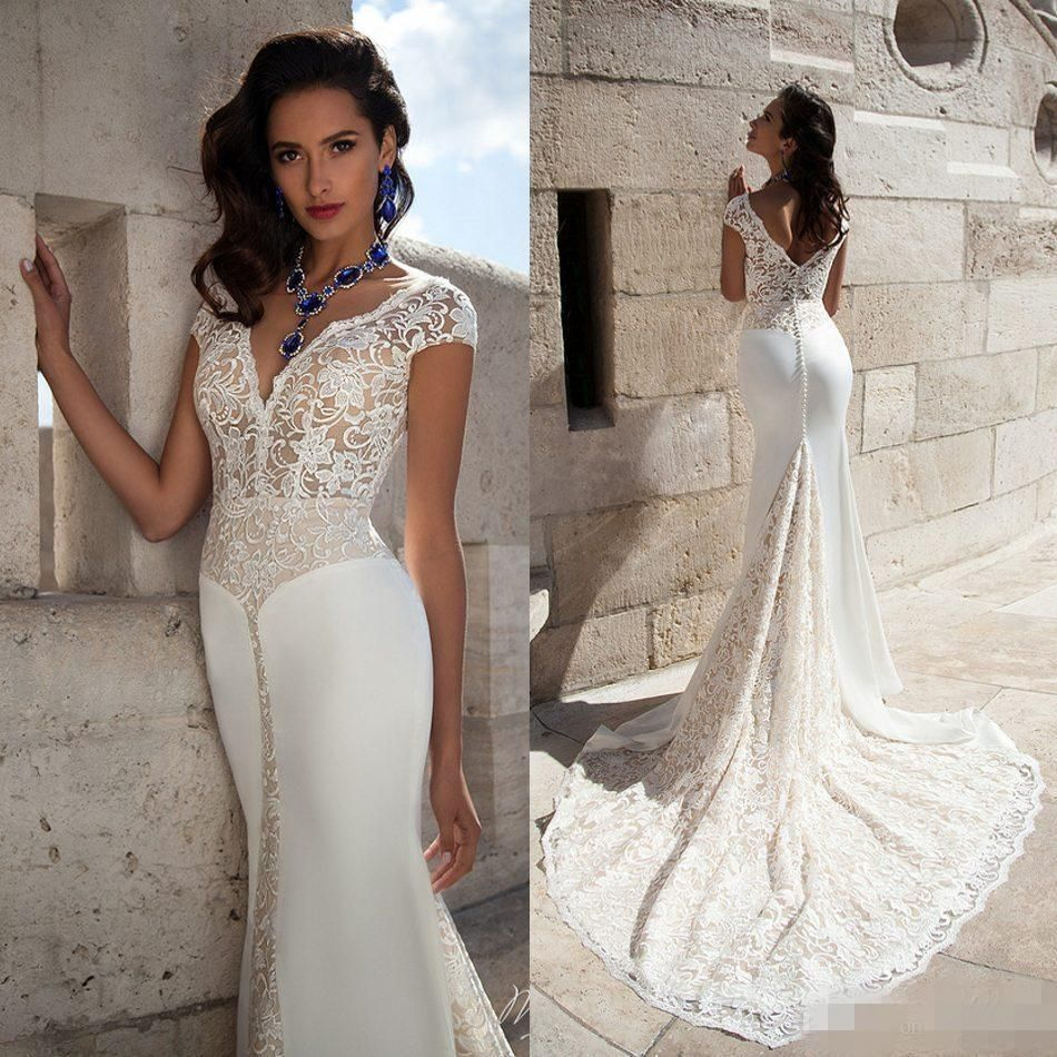 Elegant v neck wedding dresses cap sleeve full lace mermaid