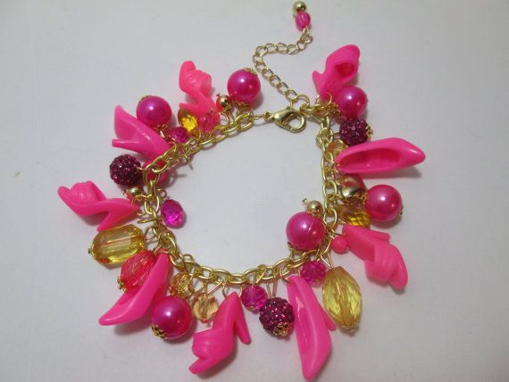 Barbie Shoe Charm Bracelet/ Bright  Pink on by ZoesBarbieShoes