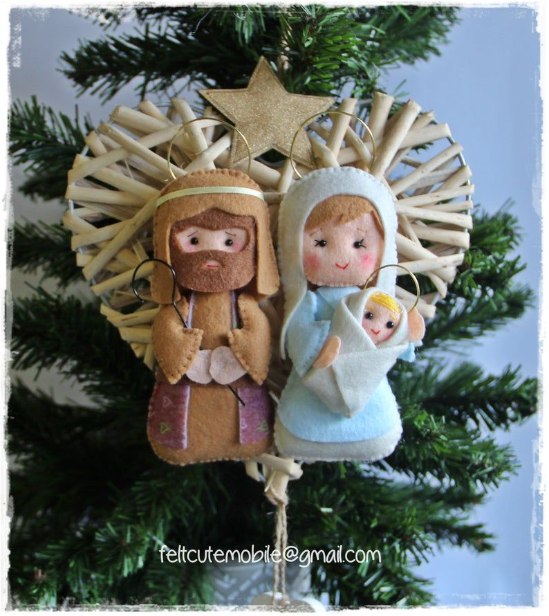 Mary and Jesus Christmas Ornament Nativity Ornament Felted Nativity