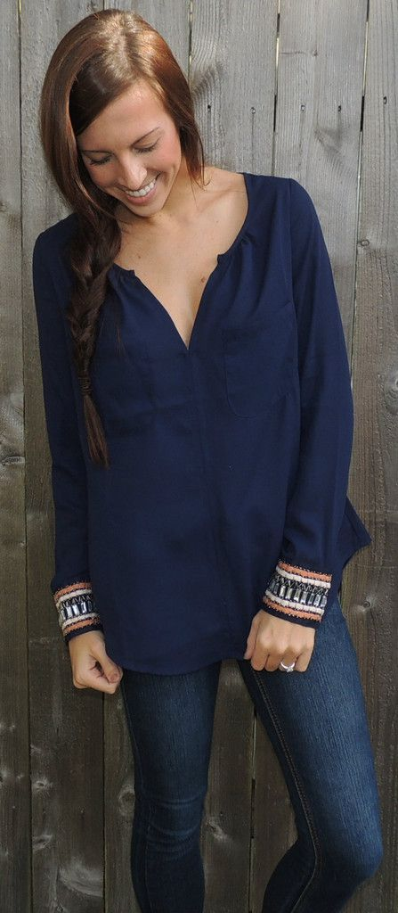 Long Sleeve Embellished Cuff Blouse...... So cute