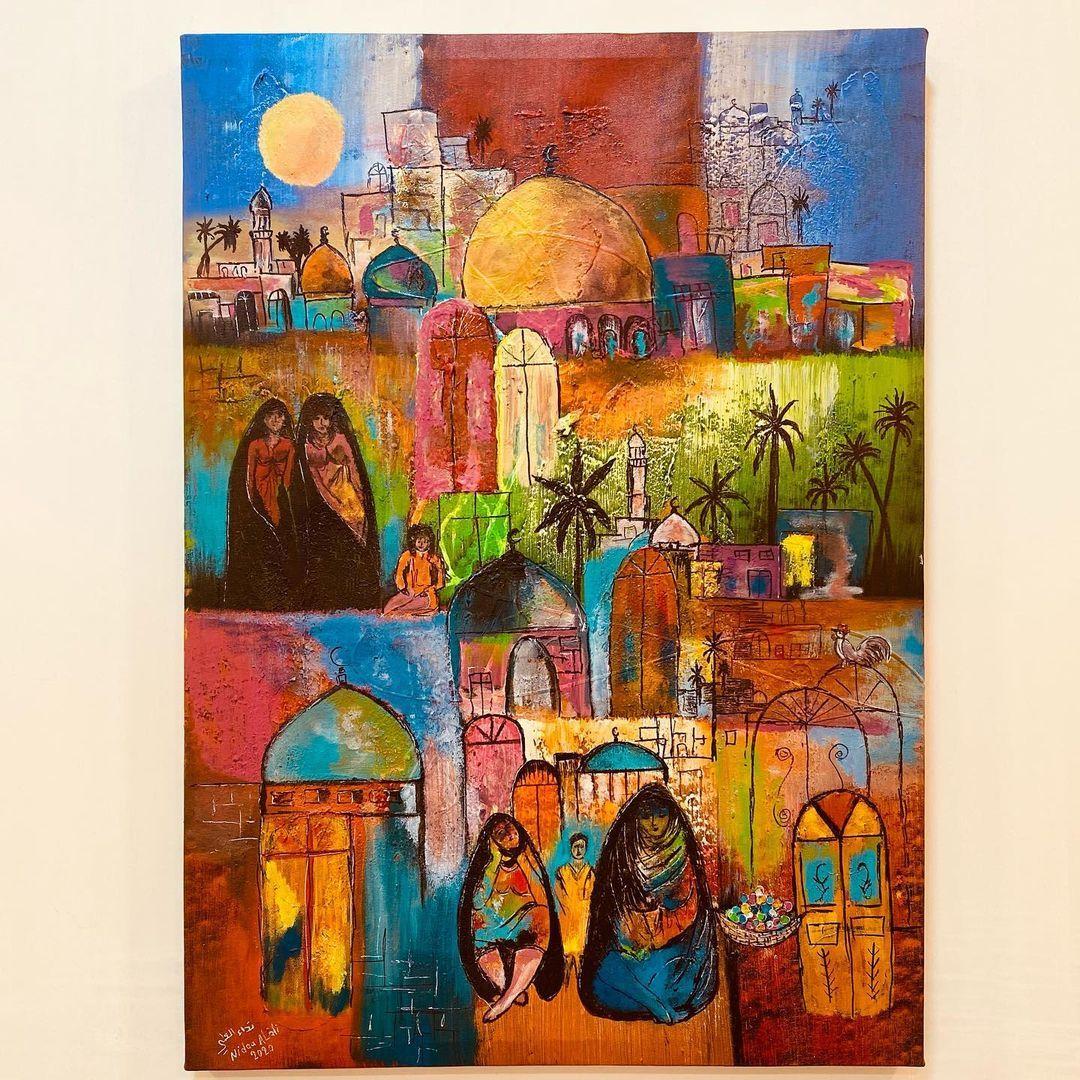 لوحة السوق تراث شعبي تراث فلكلور شعبي فن شعبي ترثيات فلكلور عراقي بغدايات شناشيل نداء العلي Artist Art Painting