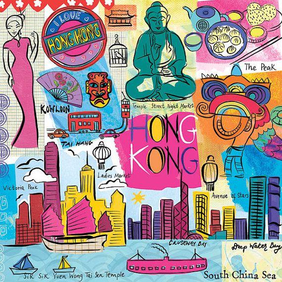 Hong Kong Travel Illustration, Modern, Whimsical Wall Art