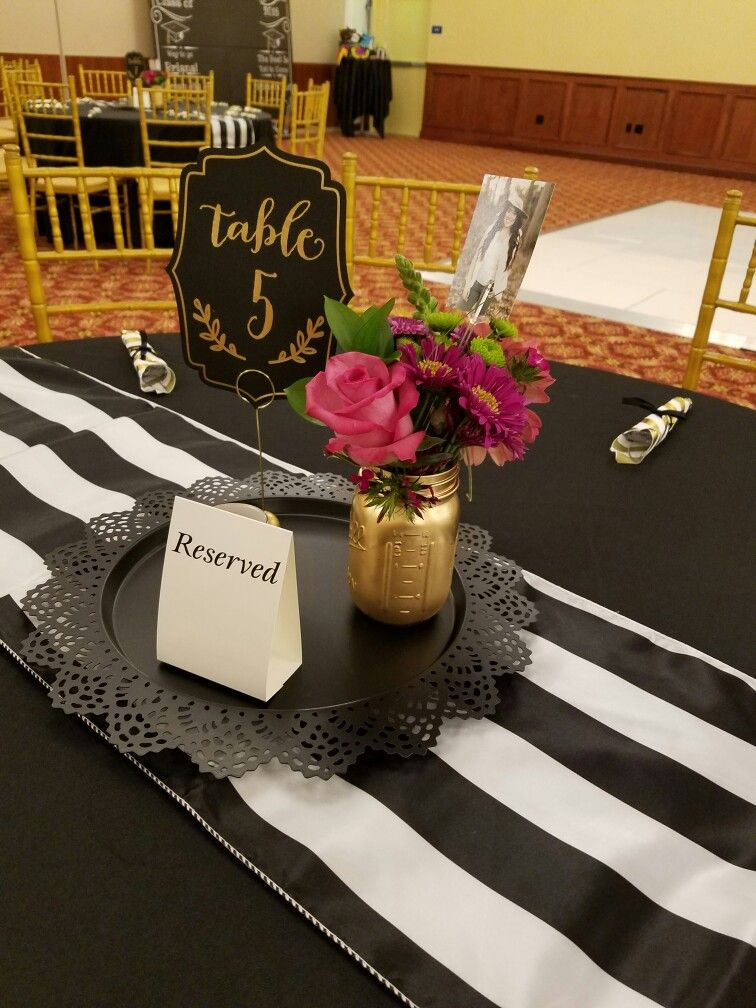 Black and gold centerpiece briana grad party pinterest