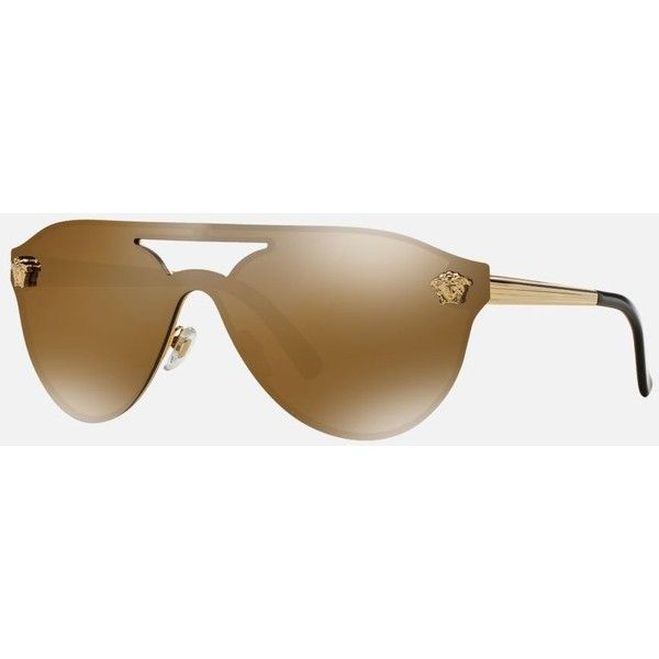 cc654837ea74 Versace Gold Aviator Sunglasses - ve2161 ( 280) ❤ liked on Polyvore  featuring accessories