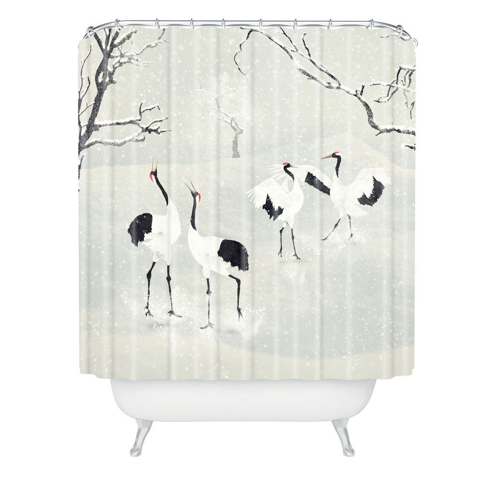 Belle13 Winter Love Dance Of Japanese Cranes Shower Curtain Deny