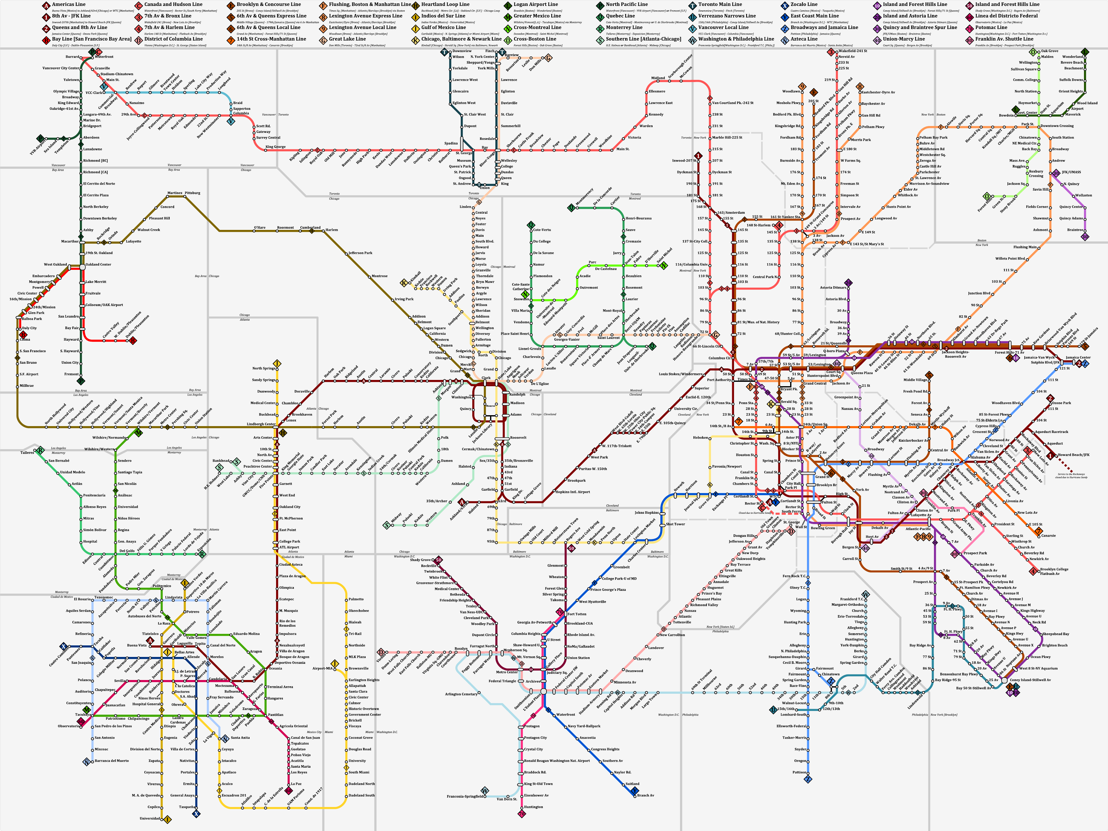 N Subway Map.Another Fantasy Map Of All N American Transit Systems