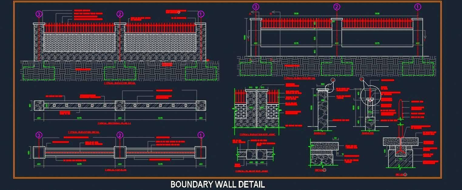 Autocad Drawing Of A Boundary Wall Has Been Designed In Brick Process Flow Diagram Using Masonry And Ms Grill With Rcc Pier Between Showing Complete Working