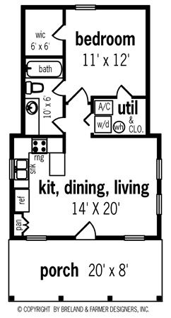 569 Sf Why Not Make The Two Halves The Same Like Having A Utility Closet Tiny House Floor Plans Cottage House Plans Small Cottage House Plans