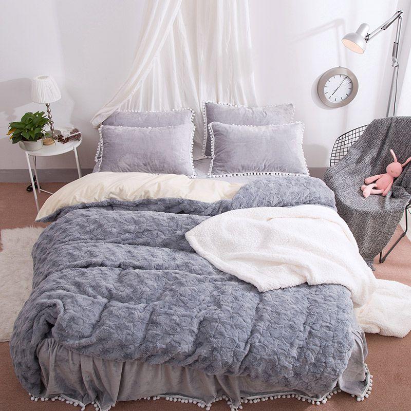 Vivilinen Solid Grey With Decorative Fuzzy Ball Faux Rabbit Fur 4 Piece Fluffy Bedding Sets Fluffy Bedding Bed Linens Luxury Bedding Sets