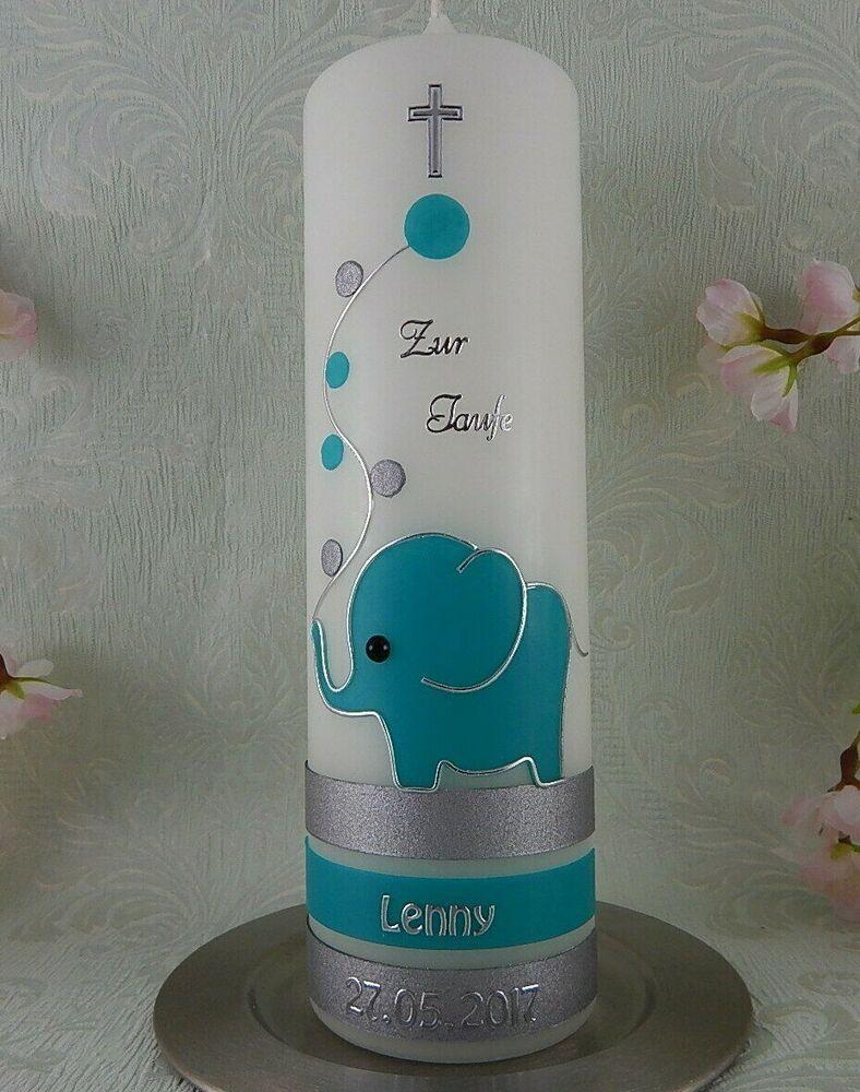 Taufkerze verziert Elefant blau Taufkerzen Junge M/ädchen 250//70 mm mit Name und Datum