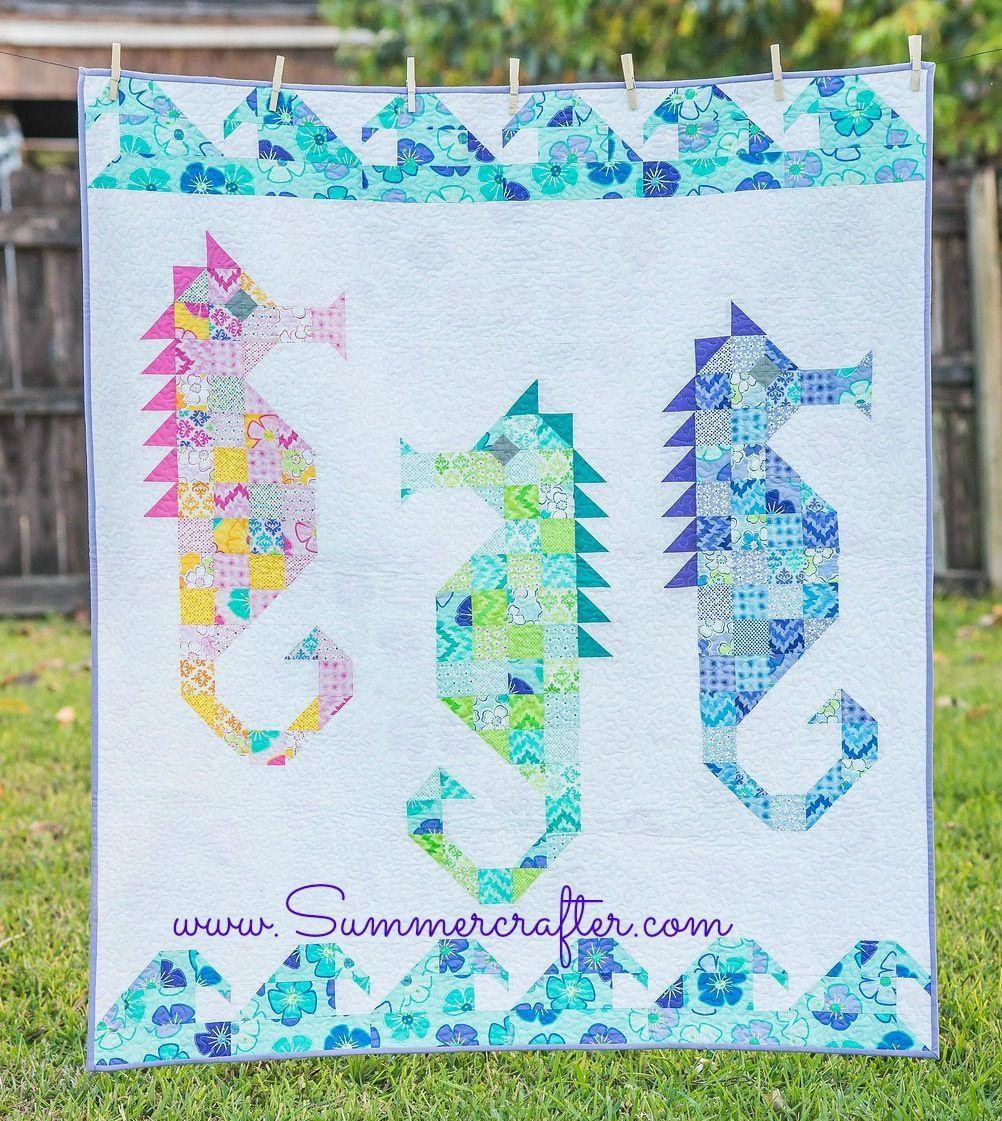 Watercolor Sea Horses Quilt Pattern Pdf Download Horse Quilt Fish Quilt Quilt Patterns