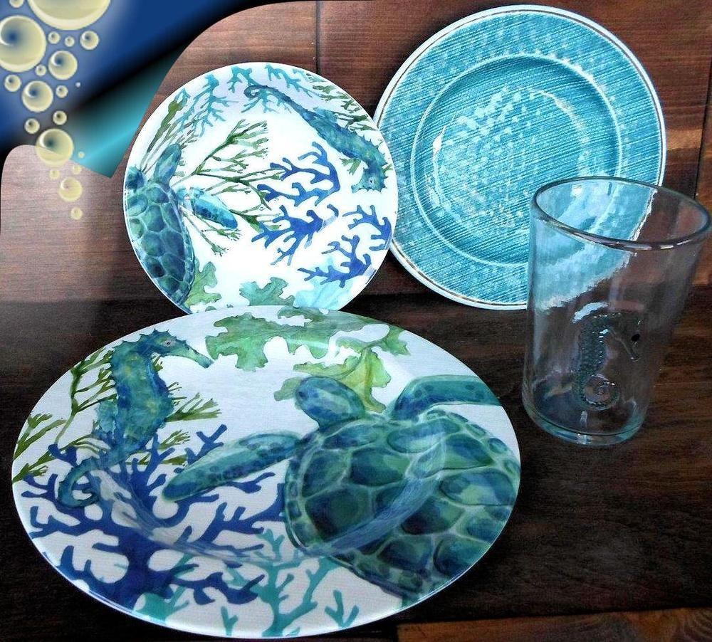16pc Cynthia Rowley Coastal Seahorse Turtle Melamine Plates Bowls Glasses Set Cynthiarowley Beachy Theme Melamine Dinnerware Cynthia Rowley