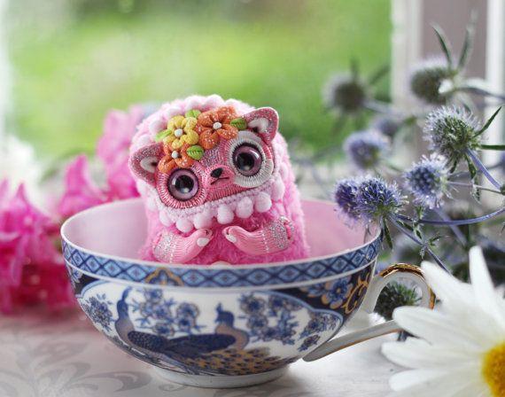 cat plush toy pink cat ooak doll miniature cat by LullabyForFox