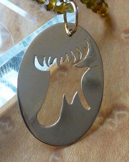 14k Yellow Gold Cutout Maine Moose Charm
