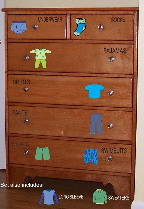 Enjoyable Dresser Clothing Decals Labels Boys Room Decals Dresser Download Free Architecture Designs Grimeyleaguecom