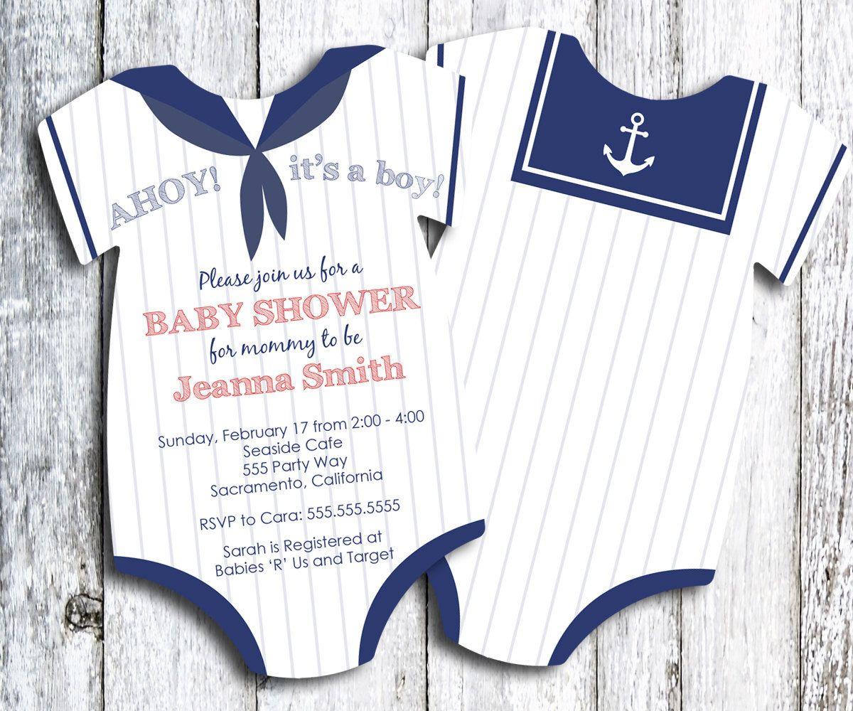 baby shower invitation printed invitation shower invitation baby bodysuit baby boy pick your quantity