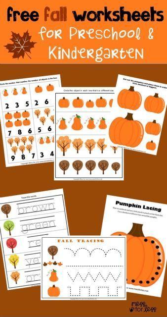 Preschool and Kindergarten Worksheets for Fall