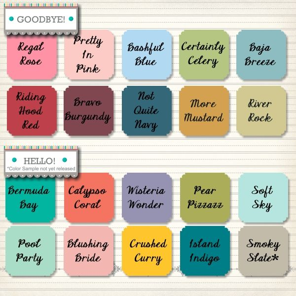 2014 In Colors Stampin Up: Say Goodbye! Say Hello! New Colors For 2013-2014 Color
