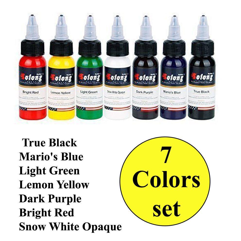 7 Basic Colors Tattoo Ink Set Pigment Kit Solong Tattoo Professional 1 Oz Solongtattoo Tattoo Ink Sets Color Tattoo Ink Tattoo