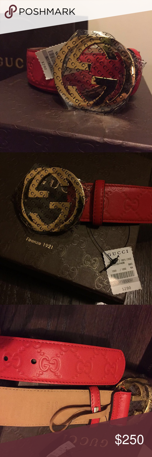 8e145e570 Authentic Firenze 1921 Red Gucci Belt with gold buckle. Fits Mens waist  size 34-36 Brand new with tag Comes with original box and dust bag TEXT ME  (559) ...