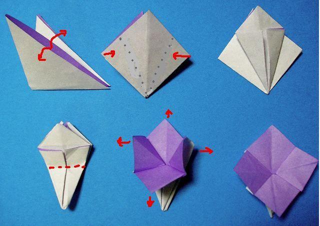 永遠の破片 折り紙 ガクアジサイの作り方 子供の折り紙 折り紙 折り紙 花束 簡単