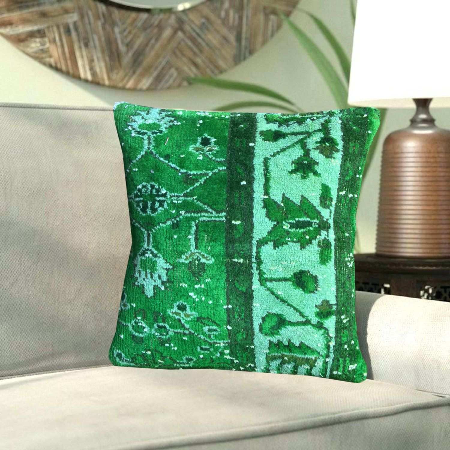 Remarkable Neon Green Floral Turkish Kilim Pillows 16X16 Decorative Pdpeps Interior Chair Design Pdpepsorg