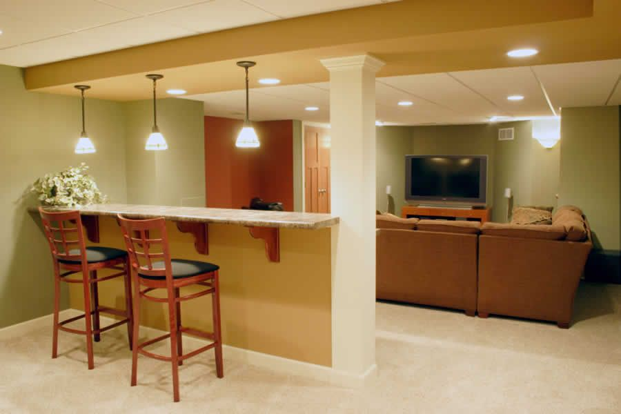 Basement Remodelling perfect colors, layout and dry/bar sitting area | delafield house