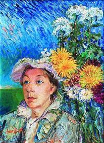 Marusia with flowers - David Burliuk