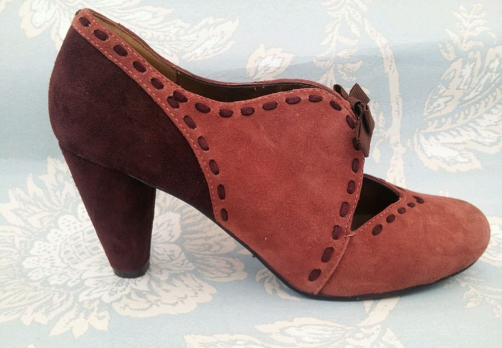 Office Vintage Ww2 1940s Style Pink Burgundy Bow Leather Shoes Uk 4 Eu 37