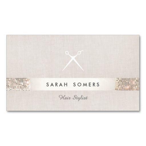 Modern Hair Stylist Scissors FAUX Sequin Salon Business Card - hair dresser resume