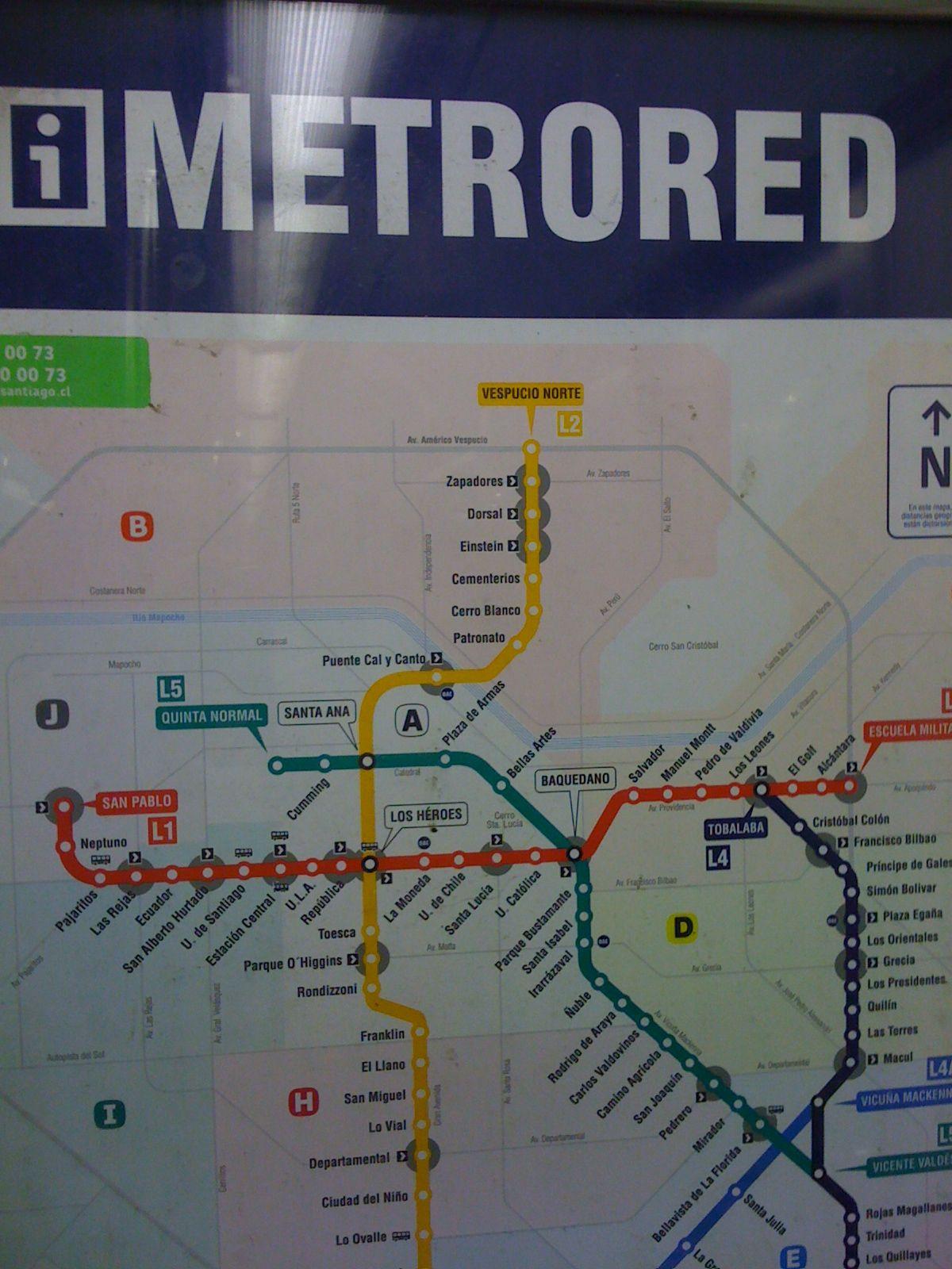 Metro map Santiago Chile Metro map
