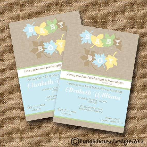 Fall Leaves Baby Shower Invitation  DIY PRINTABLE  Baby Boy Christian Scripture  Bible Verse.
