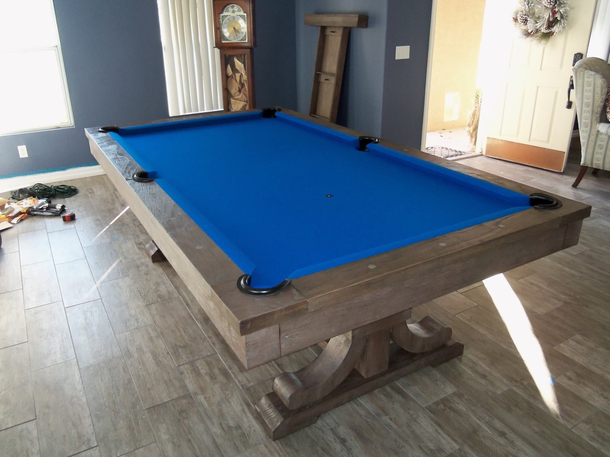 Our Atlantis Pool Table With Custom Blue Felt Atlantis Pool Tables Have A Conversion Top To Use As A Dining Table Atlantis Pools Billiard Factory Pool Table