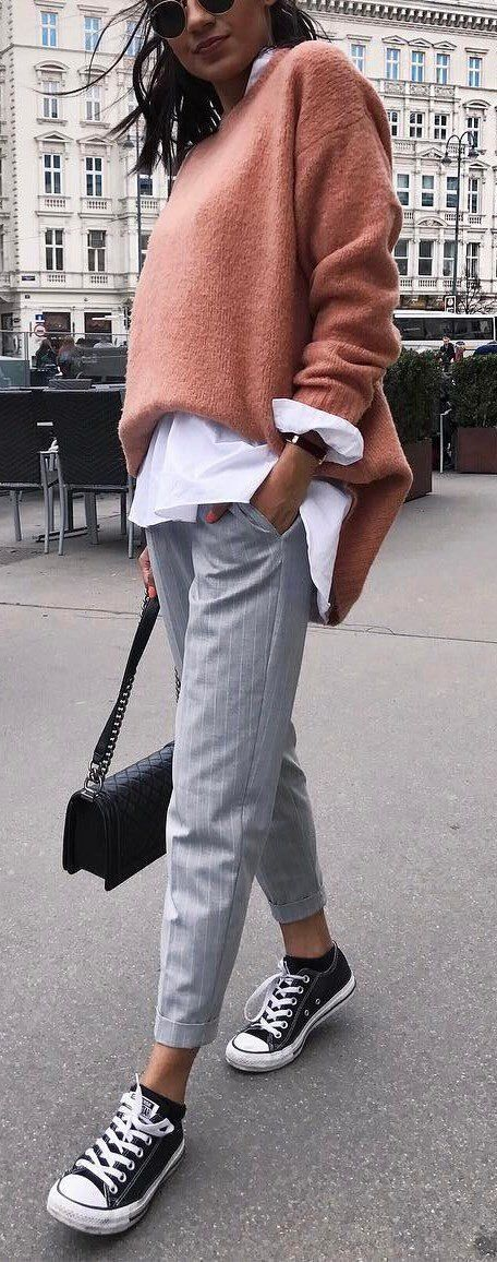 outfit   fashion   style   inspiration   vintage   chic   pants   sweater   knitwear   rosé   comfy   cosy   sneakers   street style  